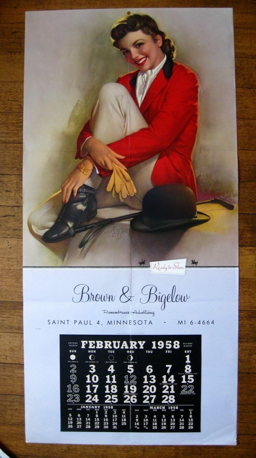 1958 Large Zoe Mozert Pin Up  Girl Calendar Beautilful Equestrian Rider  factory direct