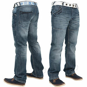 EZ138-Enzo-Mens-Jeans-Straight-Leg-Regular-Fit-Denim-Pants-28-40-Free-Belt