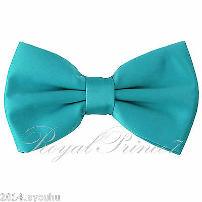 New formal men/'s pre tied Bow tie solid formal wedding party prom aqua green