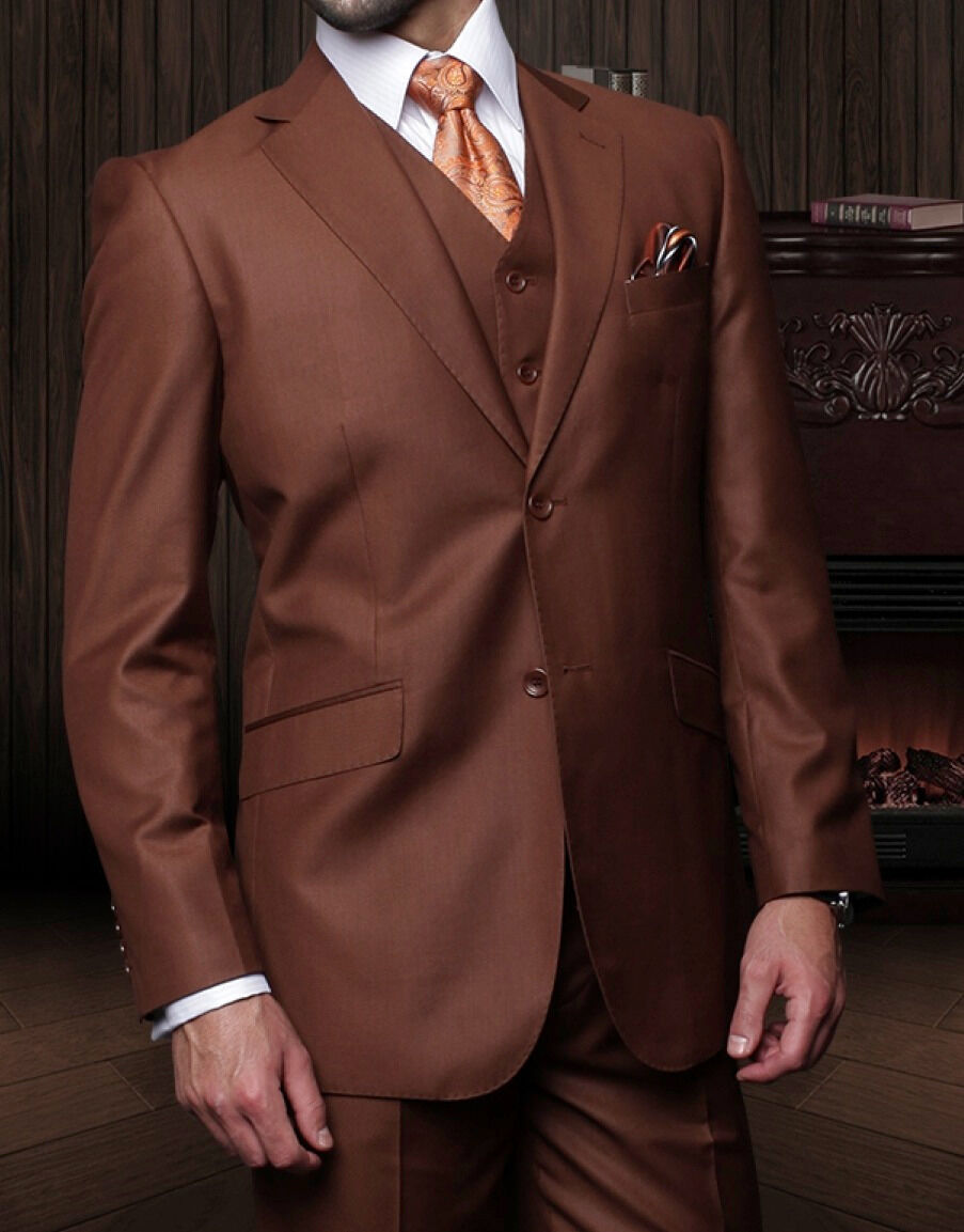 Herren 3 PIECE 2 BUTTON SOLID COPPER WOOL BUSINESS SUIT REGULAR FIT PLEATED PANTS