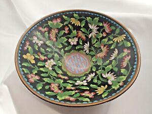 Vintage Antique Chinese Cloisonne Floral Bowl