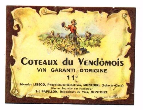 Wine Label Coteaux du Vendomois Maurice Lesecq France Montoire