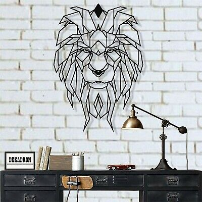 Metal Wall Art Geometric Lion Head Decor Ebay