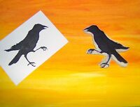 Raven/crow Mouth Open-leg Up Hand Carved Rubber Stamp