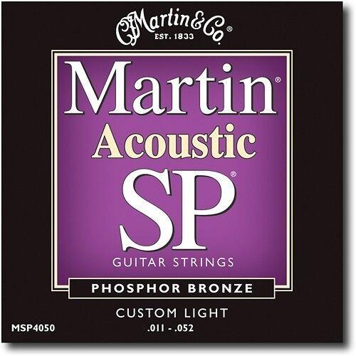 MARTIN MSP4050 ACOUSTIC GUITAR STRINGS CUSTOM LIGHT GAUGE PHOSPHOR BRONZE 11-52