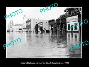 OLD-LARGE-HISTORIC-PHOTO-OF-ENID-OKLAHOMA-THE-FLOODED-MAIN-STREET-c1930