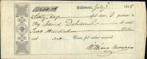 1848 Baltimore Maryland (MD) Contract James Duhamele William Brown