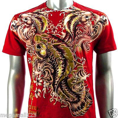Artful Couture T-Shirt Sz M L XL XXL Japanese Koi Carp Tattoo Rock Biker AD40