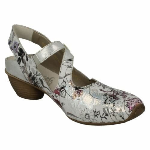 LADIES RIEKER COURT SHOES FLORAL MID HEEL LEATHER STRAP DRESS CASUAL 43771