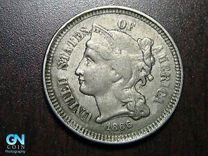 1866 3 Cent Nickel Piece    BETTER GRADE!  NICE TYPE COIN!  #B6629