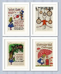 Set-of-4-Alice-in-Wonderland-Antique-Book-page-Art-Prints-A4-Nursery-Set2-Orange