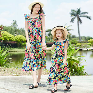 b5b471762f Women Girl Family Maxi Dress Mother Daughter Matching Floral Holiday ...