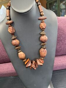 """Vintage Bohemian Multi Color  Exotic Wooden Beaded Boho Statement Necklace 22"""""""