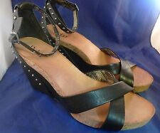 Womens Size 10M REBA WEDGE Leather Upper Black Rivets Heels Ankle Strap Shoes