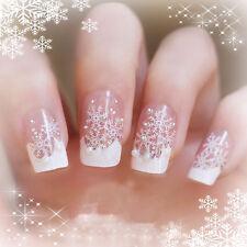 Christmas Snowflake Nail Art White Art Decals Stickers Glitter Pearls Set #2014