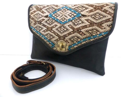 Cuir Kilim Bandouliere Neuve Pochette Leather Laine Main Neuf A Noir Handbag Sac Tw86qntx8