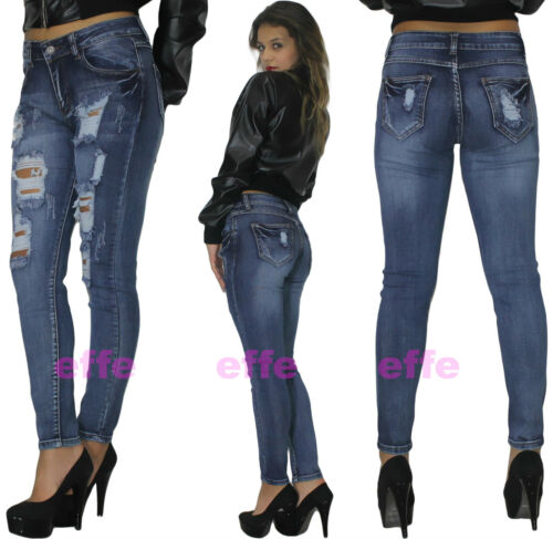 Jeans donna strappati vita alta Denim skinny slim pantaloni elasticizzati  1102h