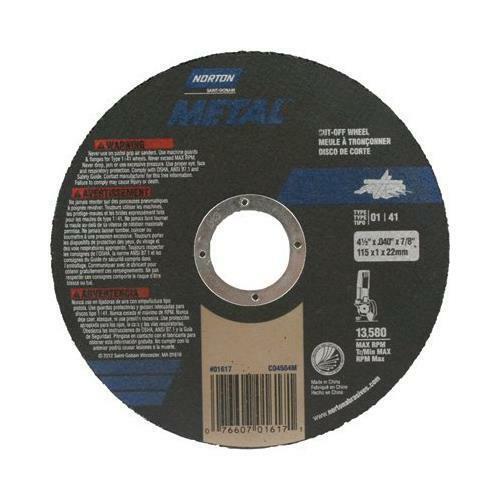 13,580 RPM 4.5in.dia Norton Cutoff Blade Model# 076607-01617-1