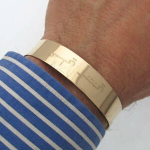 Details About Gold Cuff Bracelet For Him Filled Wide Id Arabic Jewelry