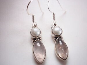 Cultured-Pearl-and-Rose-Quartz-Marquise-925-Sterling-Silver-Dangle-Earrings