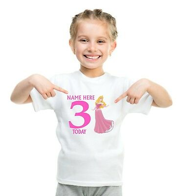 CHILDRENS   T SHIRT*BIRTHDAY AGE PERSONALISED *SLEEPING BEAUTY 1,2,3,4,5,6,7,8