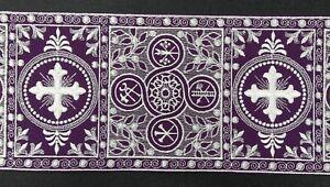 Orphrey-para-Alba-Vestment-Frances-Cruz-Diseno-Blanco-en-Purpura-6-034-Flejadora-De