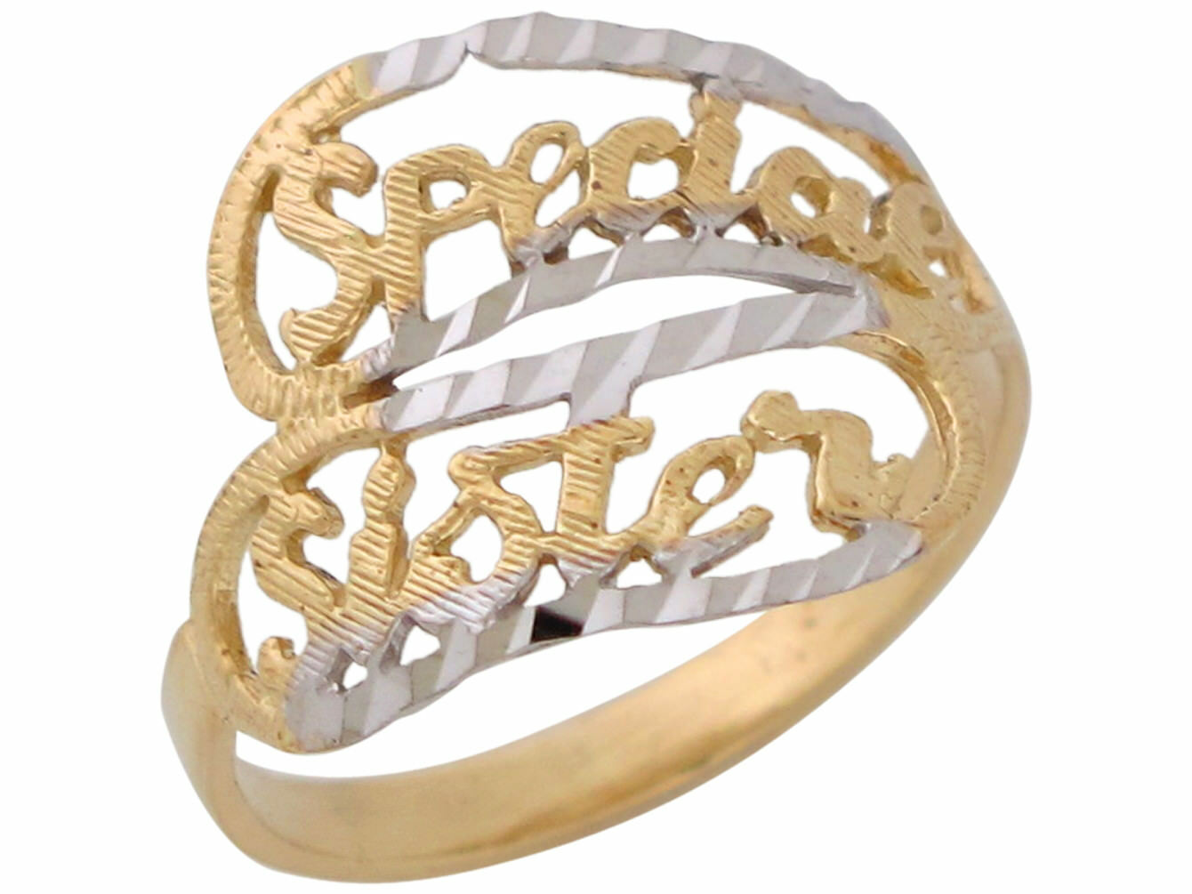 10k or 14k Two-Tone gold Breathtaking Special Sister Filigree Ladies Ring