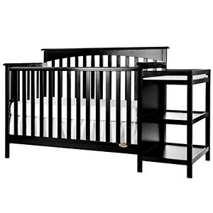 save off b9bc8 2afdb Details about Baby Crib Convertible Cribs With Changing Table Wood Toddler  Bed Daybed Black