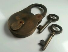 Vintage Antique BRASS PADLOCK with Skeleton KEYS LOCK UNUSED and WORKING #L2