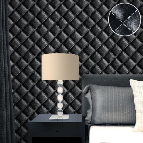 Vinyl Rustic Vintage Luxury 3D Leather Effect Headboard Wallpaper Roll 10M PVC