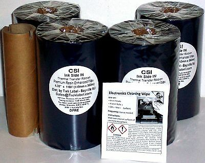 "4 Rolls Thermal Transfer Ribbons 4.33/""x1476/' For Zebra Datamax Sato TT Printers"