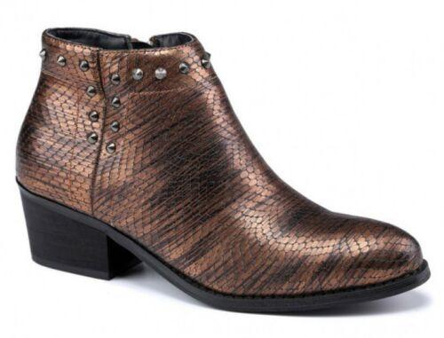 Ladies Womens Faux Leather Lizard Print Studs Cowboy Zip Ankle Boots Shoes Size