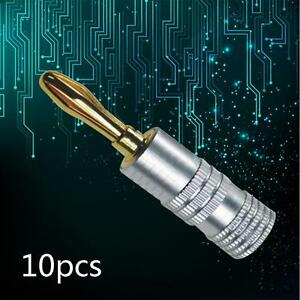 10x-Quality-Speaker-Banana-Plug-24k-Gold-Plated-4mm-Musical-Audio-Connector-TH