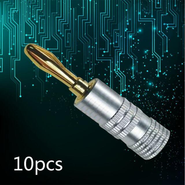 10x Quality Speaker Banana Plug 24k Gold Plated-4mm Musical Audio Connector K✿