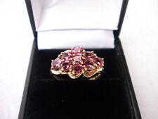 9 quilates de oro grandes Turmalina Rosa Oscuro/Cluster Anillo de .90 quilates rubelite