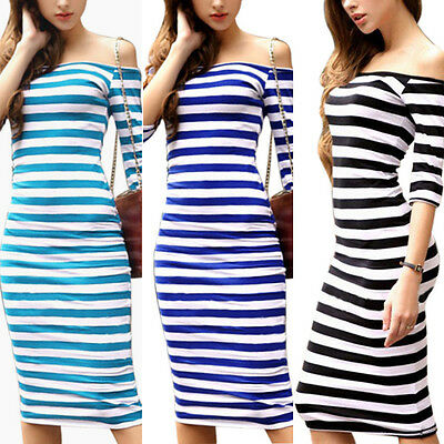 Spring Summer Sexy Off the Shoulder Women Stripe Casual Bodycon Party Dress