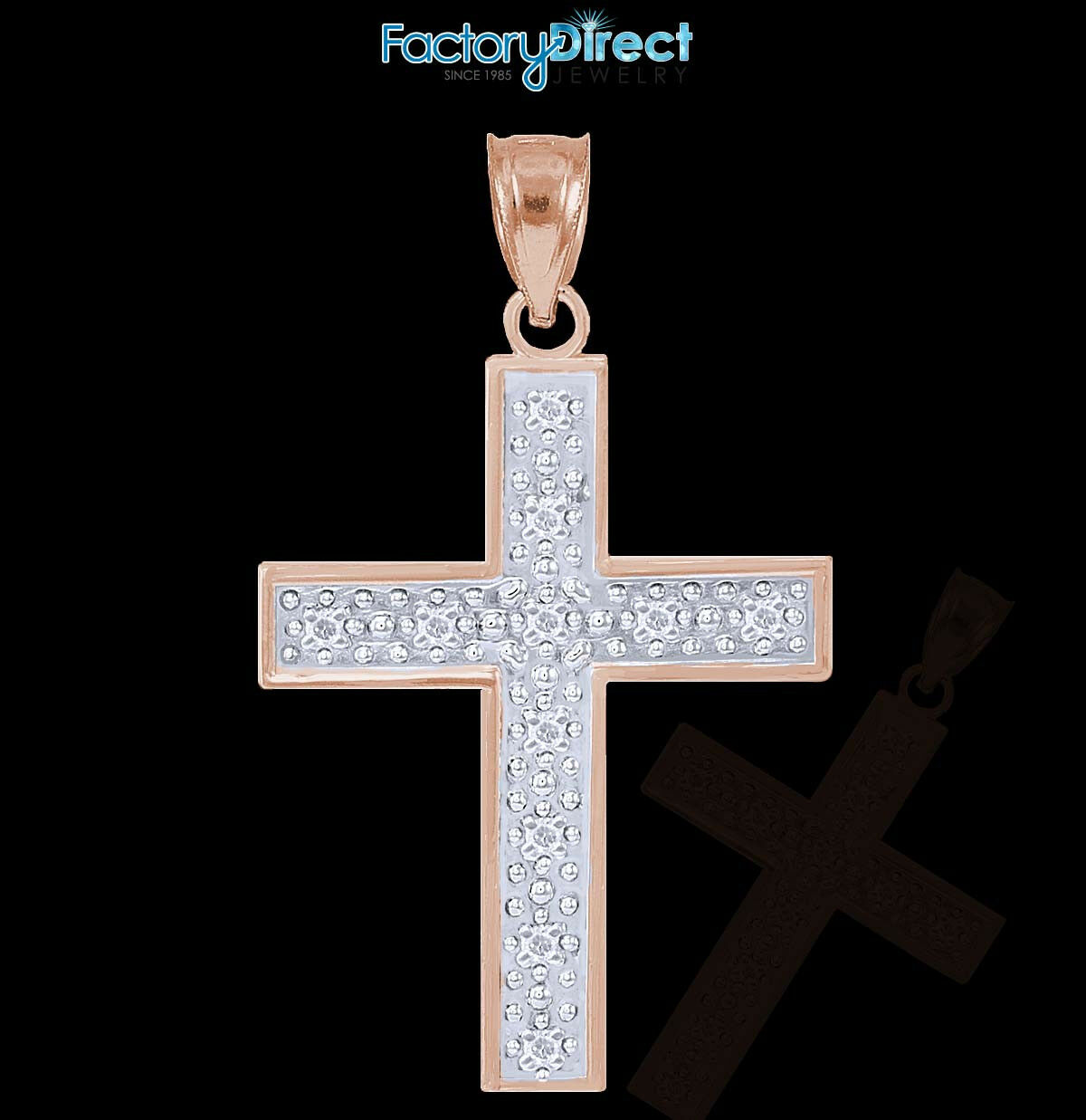 10k   14k pink gold Diamond Cross Pendant
