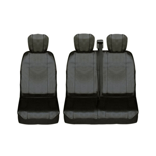 2+1 Vordere Sitzbezüge Kunstleder Schwarz für Iveco Hyundai Kia Mazda Mitsubishi