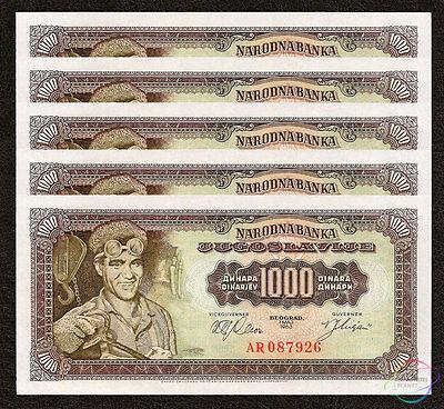 UNCIRCULATED. YUGOSLAVIA LOT 5x 1000 DINARA 1963 P 75