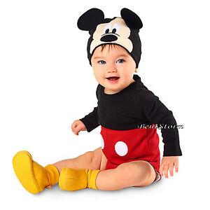Mickey Mouse Baby Bodysuit Dress Up Costume W  Ears Hat Disney Store ... c4b28265396