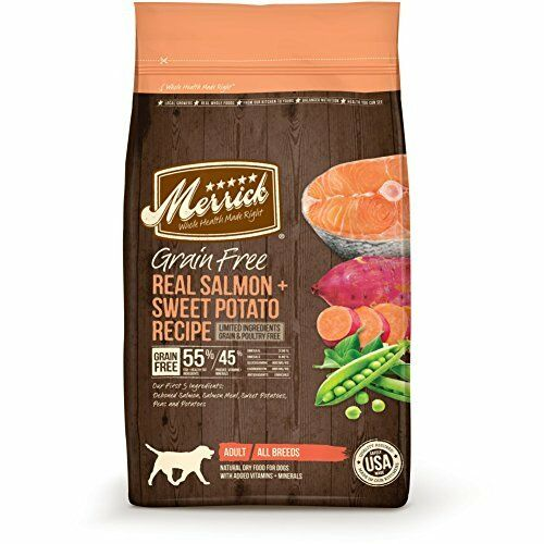 Merrick Grain Free Real Salmon + Sweet Potato Recipe Dry Dog Food, 25-Pound
