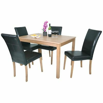 OAKDEN OAK VENEER DINING TABLE AND 4 x BLACK LEATHER HIGH BACK CHAIR SET WOOD