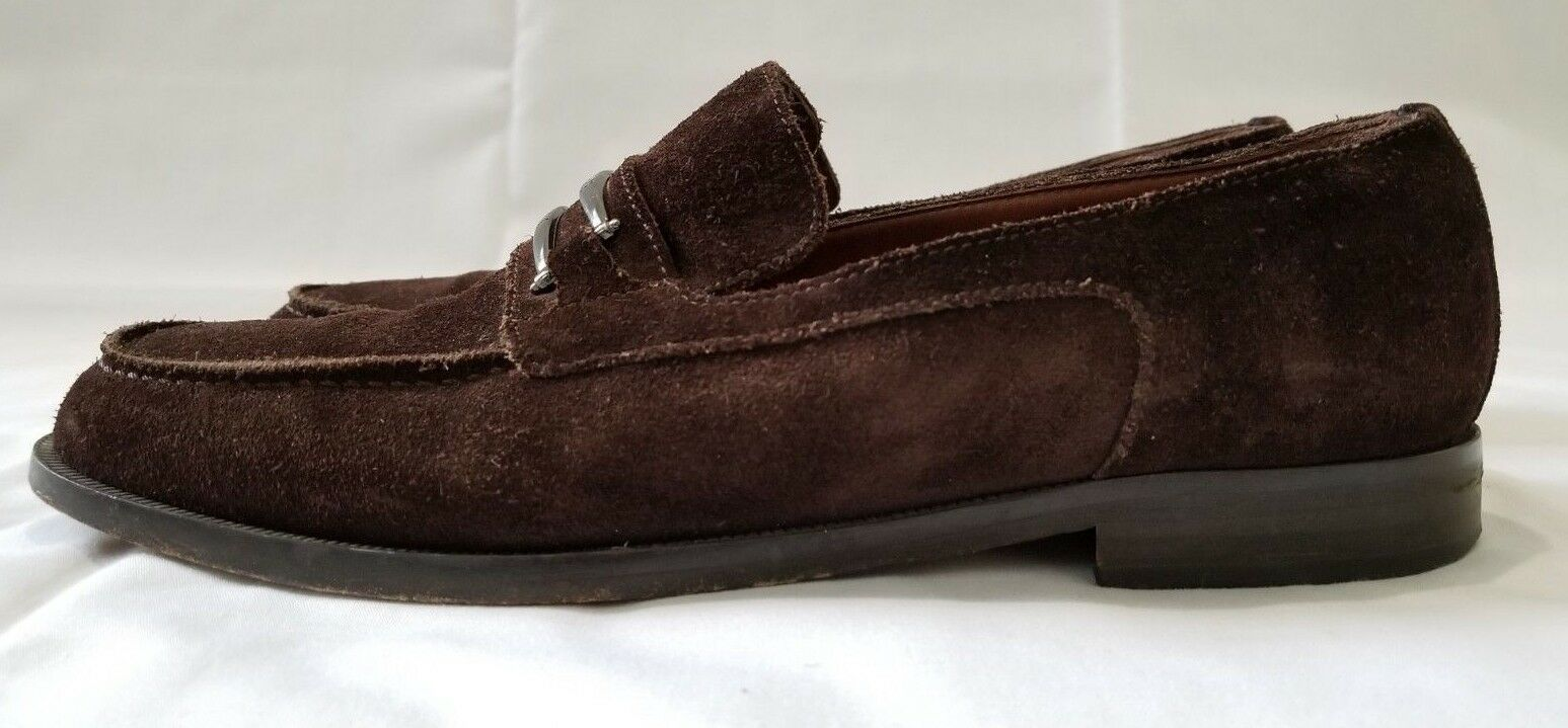 Uomo Sz 43.5(US 43.5(US 43.5(US 10) Brown Versace Classic V2 Slip On Suede Pelle Shoes preowned 2aa7d3