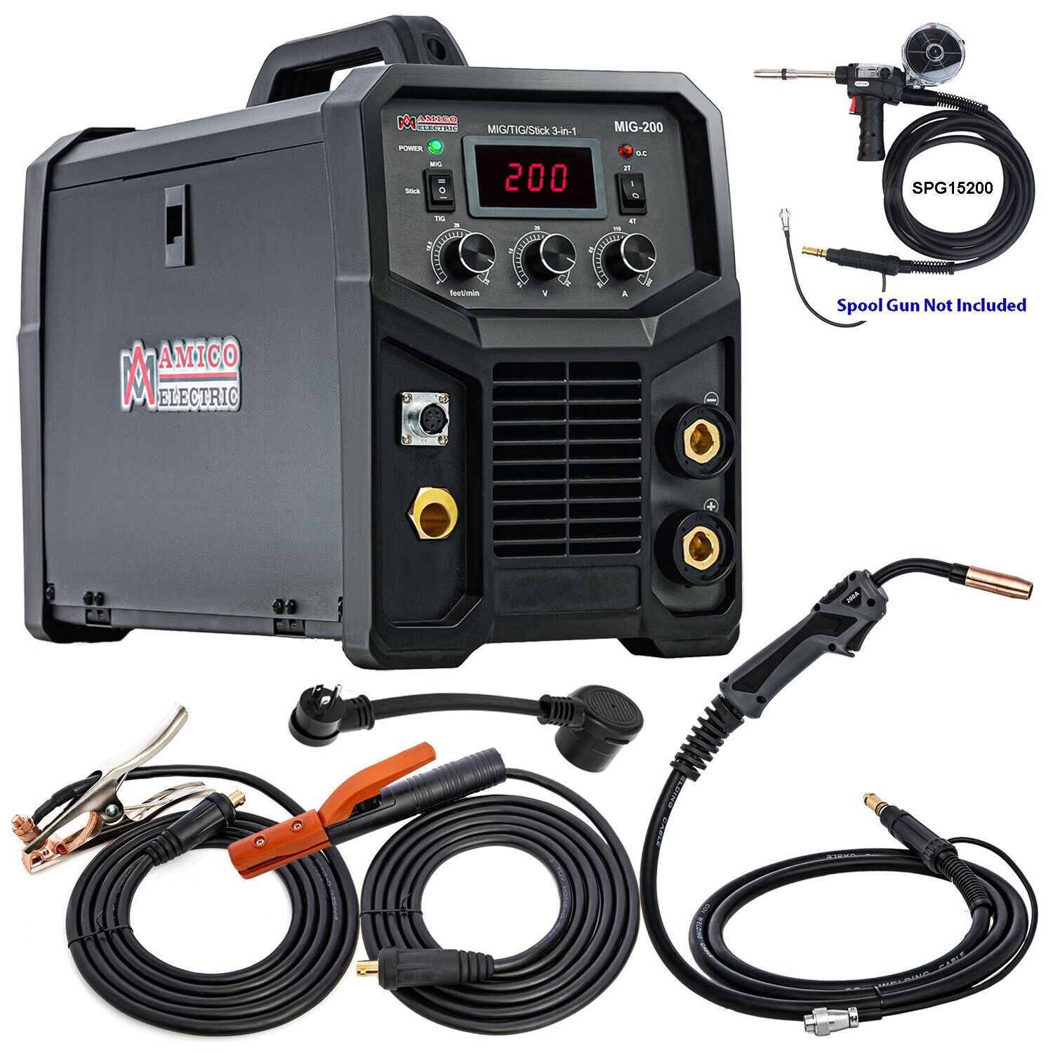 Amico MIG-200, Professional 200-Amp MIG/Flux Cored/Stick/TIG DC Inverter Welder . Available Now for 579.00