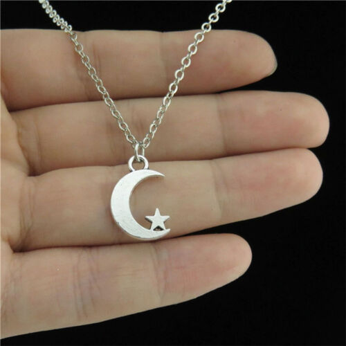 """18/"""" Silver Chain Alloy Collar Short Chunky Necklace Weather Star Moon Pendant"""