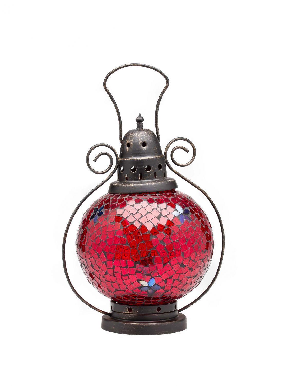 Vento Luce Lanterna Lampada lumino da tè tè tè Giardino Terrazzo Casa vetro vetro Coloreeeato rosso 31cm c2a54f