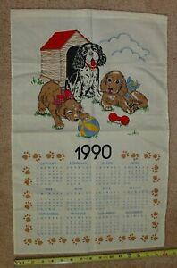 Vintage-Calendar-1990-Cotton-Kitchen-Dish-Tea-Towel-Wall-Hanging-Puppies-Dogs