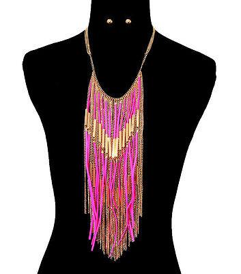 GOLD EGYPTIAN SUEDE TASSEL Statement Necklace & Earrings SET-Fuchsia