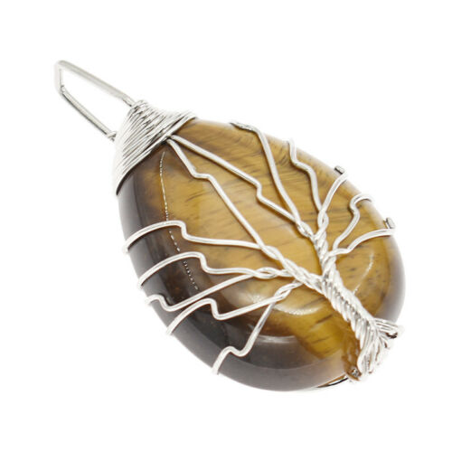 Natural Crystal Silver Tree Of Life Wire Wrap Drop Pendant Tiger Eye Stone