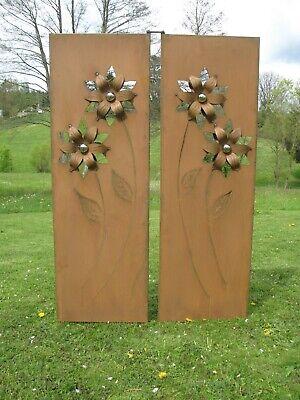 2- Teil. Sichtschutz Wand Edelrost Metall Mit Blumen Und Edelstalkugel 105x155cm Hell Und Durchscheinend Im Aussehen